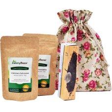 Zestaw 2 herbat i zaparzacz w lnianym opakowaniu