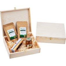 Zestaw 2 herbat, konfitura i zaparzacz w drewnianym opakowaniu