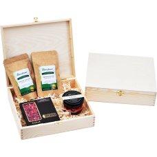 Zestaw 2 herbat, miód i czekolada w drewnianym opakowaniu