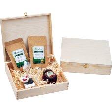 Zestaw 2 herbat, owoce w czekoladzie i syrop w drewnianym opakowaniu