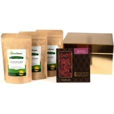 Zestaw 3 herbat i czekolady w złotym opakowaniu