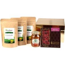 Zestaw 3 herbat, konfitury i czekolady w złotym opakowaniu