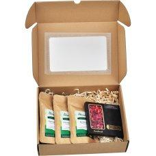 Zestaw prezentowy 3 herbaty i czekolada w opakowaniu z okienkiem